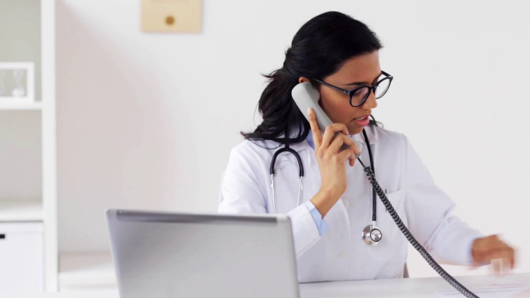 doctor on telephone